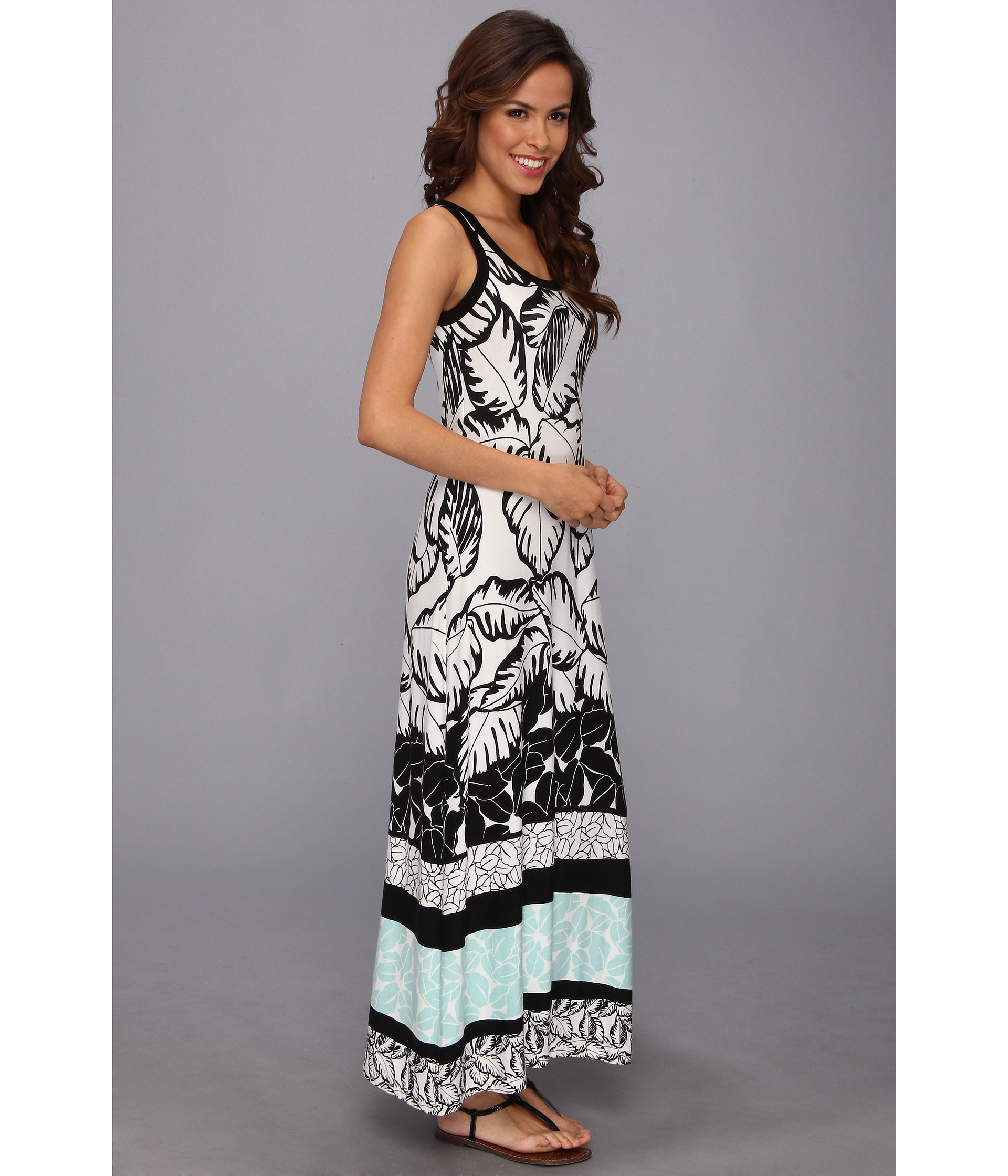 Karen kane Polynesian Print Maxi Dress in Black | Lyst