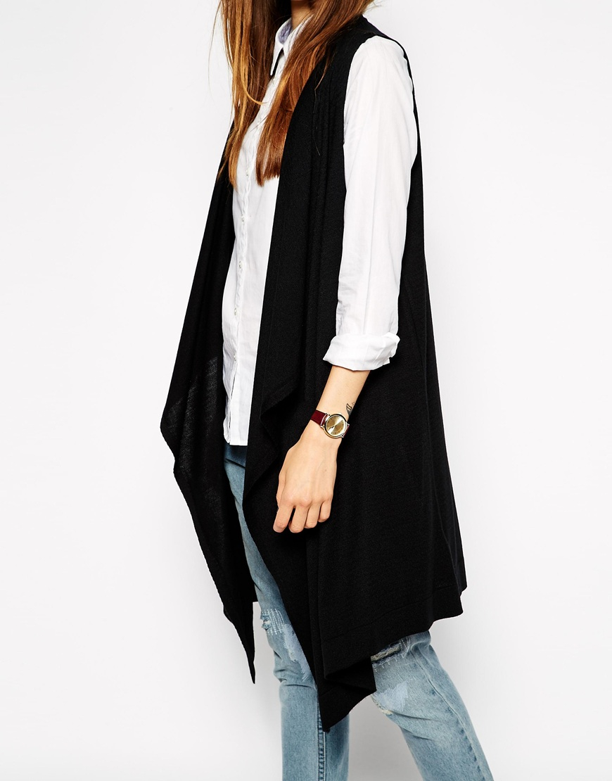 Asos Sleeveless Waterfall Cardigan In Longline in Black | Lyst