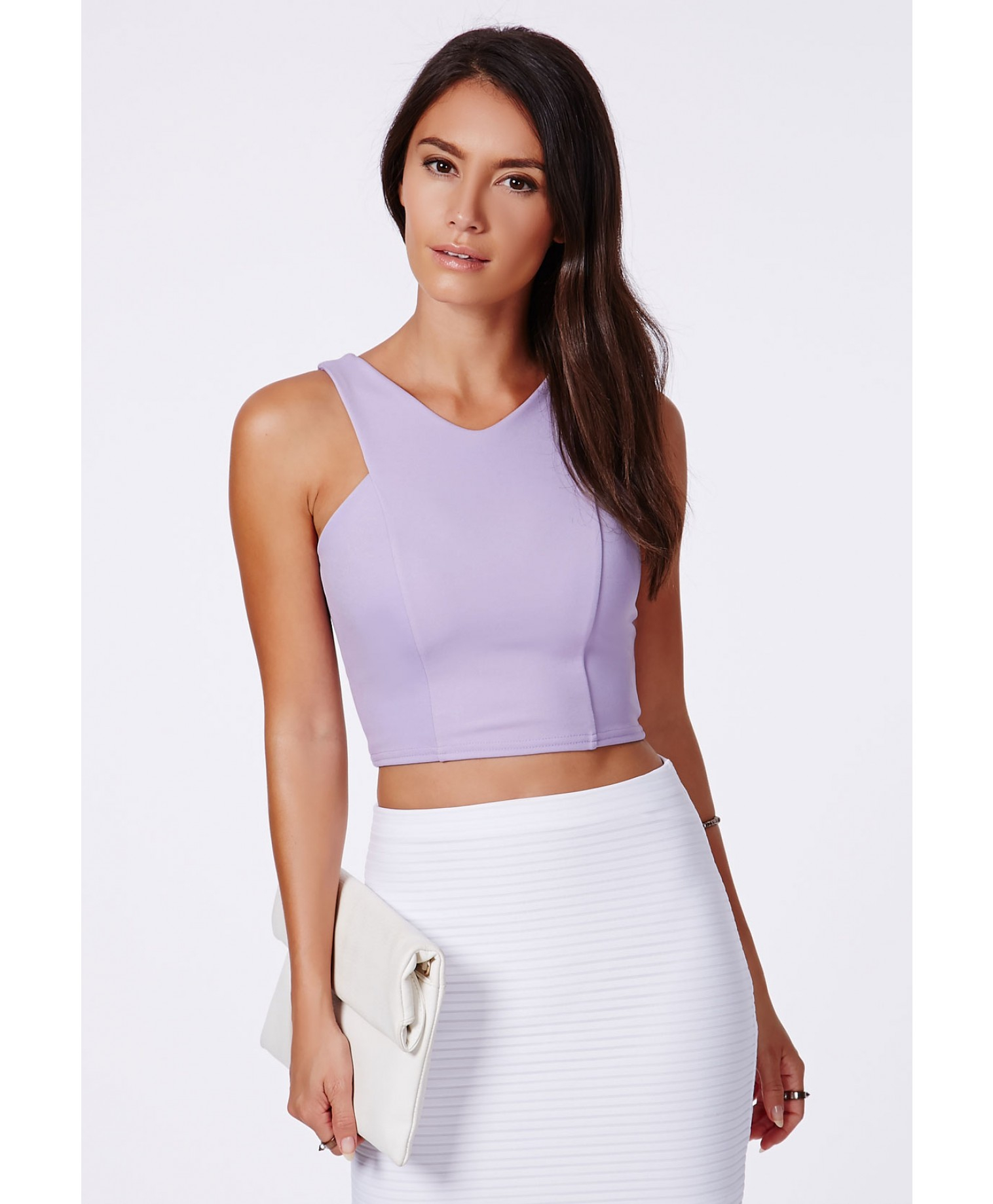 Missguided Krystyna Lilac Scuba Crop Top With V-Neck In