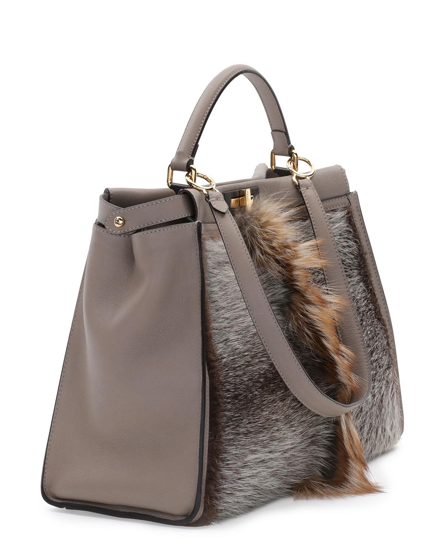 ... norway lyst fendi peekaboo large fur tote bag in brown e5b32 a6d7a 55b79464ba7a0