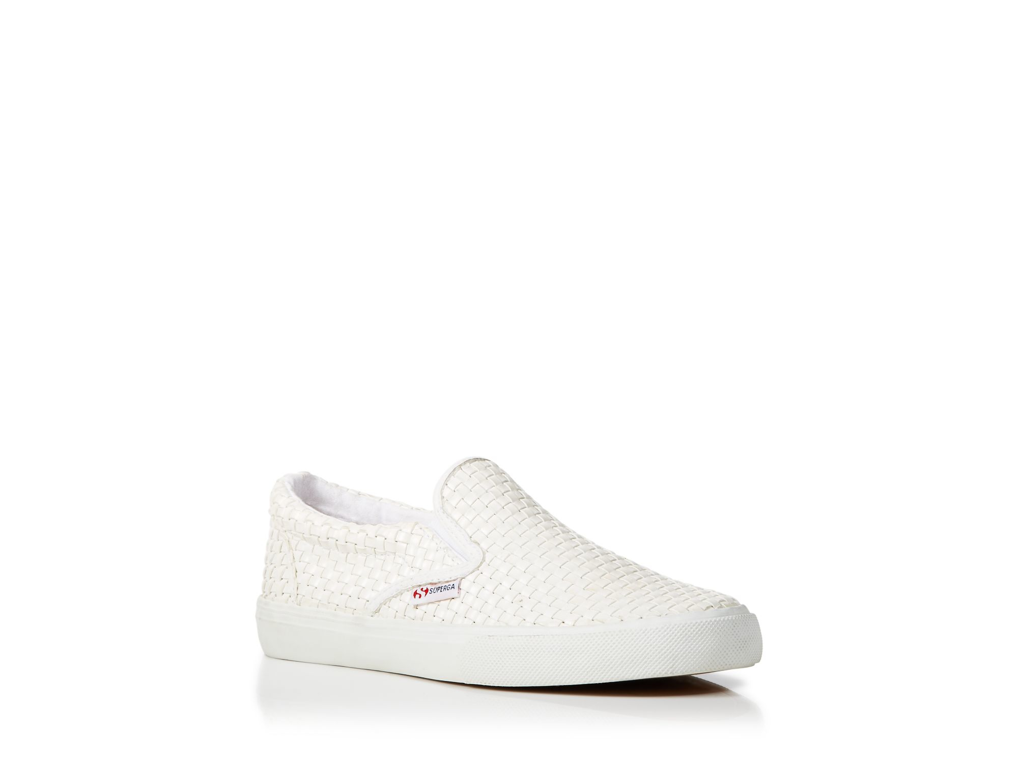 Lyst - Superga Slip On Sneakers - Woven Leather in White
