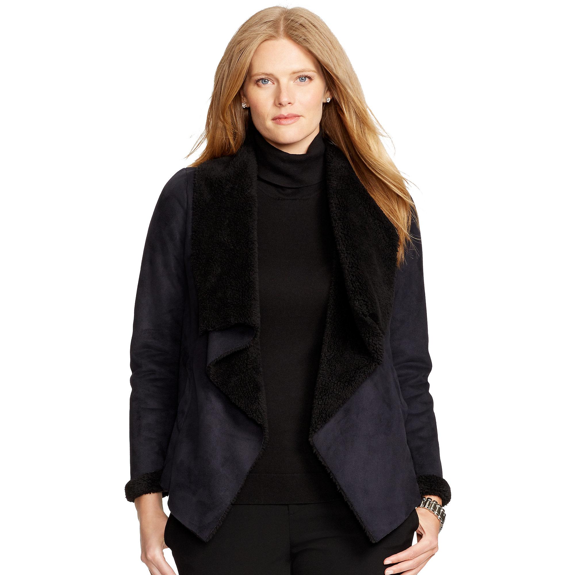 Ralph lauren Faux-shearling Jacket in Black | Lyst
