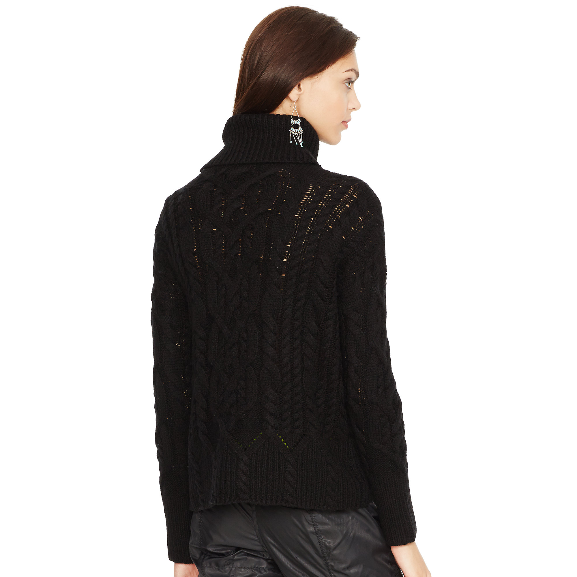 Lyst - Polo ralph lauren Aran-Knit Turtleneck Sweater in Black