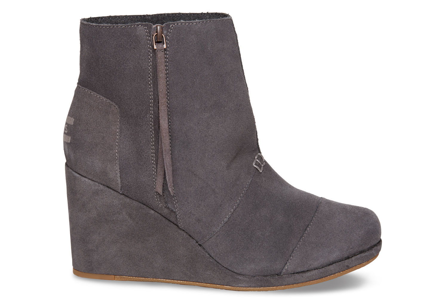 d7f864ecf9c Lyst - TOMS Dark Grey Suede Women s Desert Wedge Highs in Gray