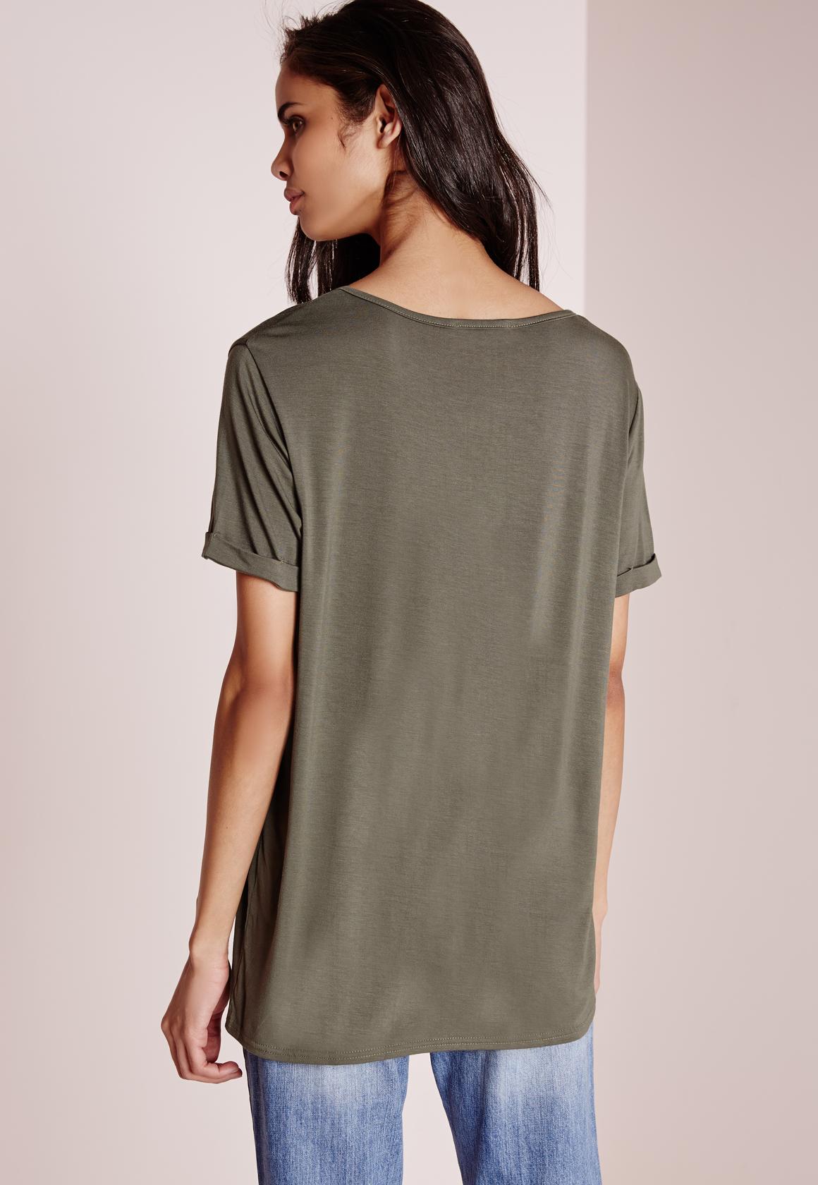 Missguided Tall Boyfriend V Neck T Shirt Khaki In Natural