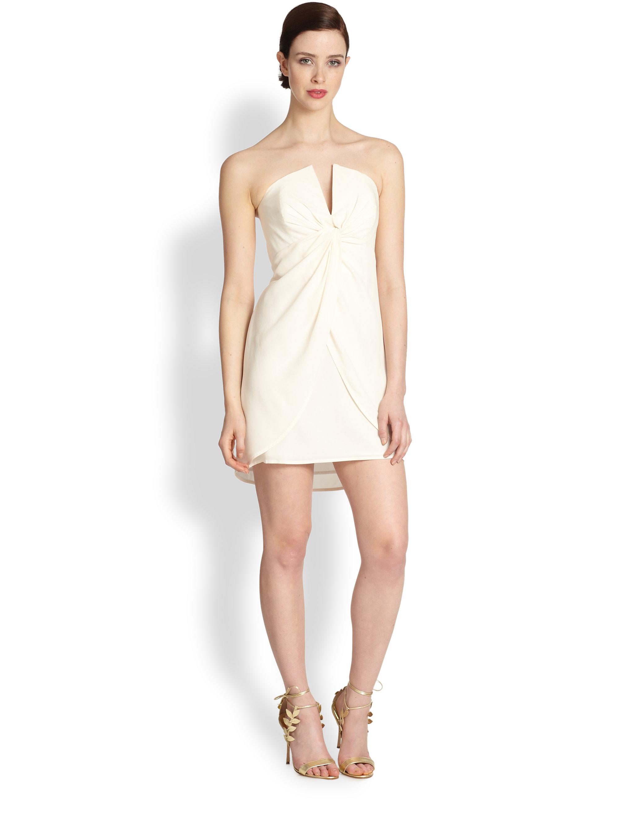 Zimmermann Silk Strapless Twistfront Dress in White | Lyst