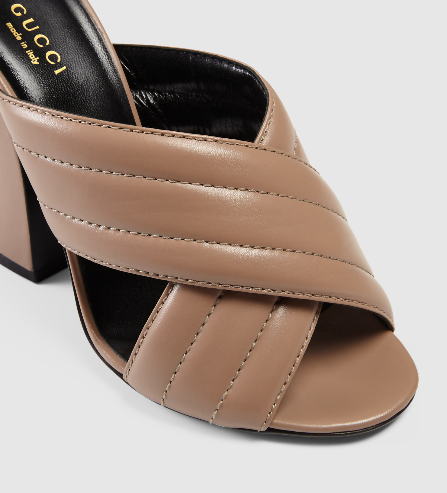 01e59acbaa70 Lyst - Gucci Leather Crossover Sandal in Brown
