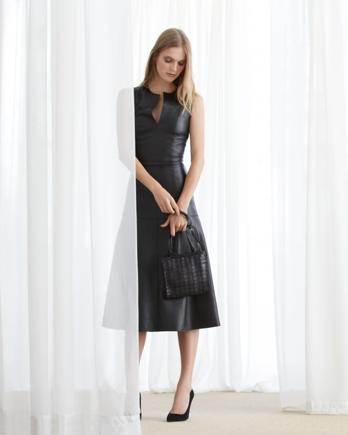 The row Leather A-Line Midi Dress in Black | Lyst