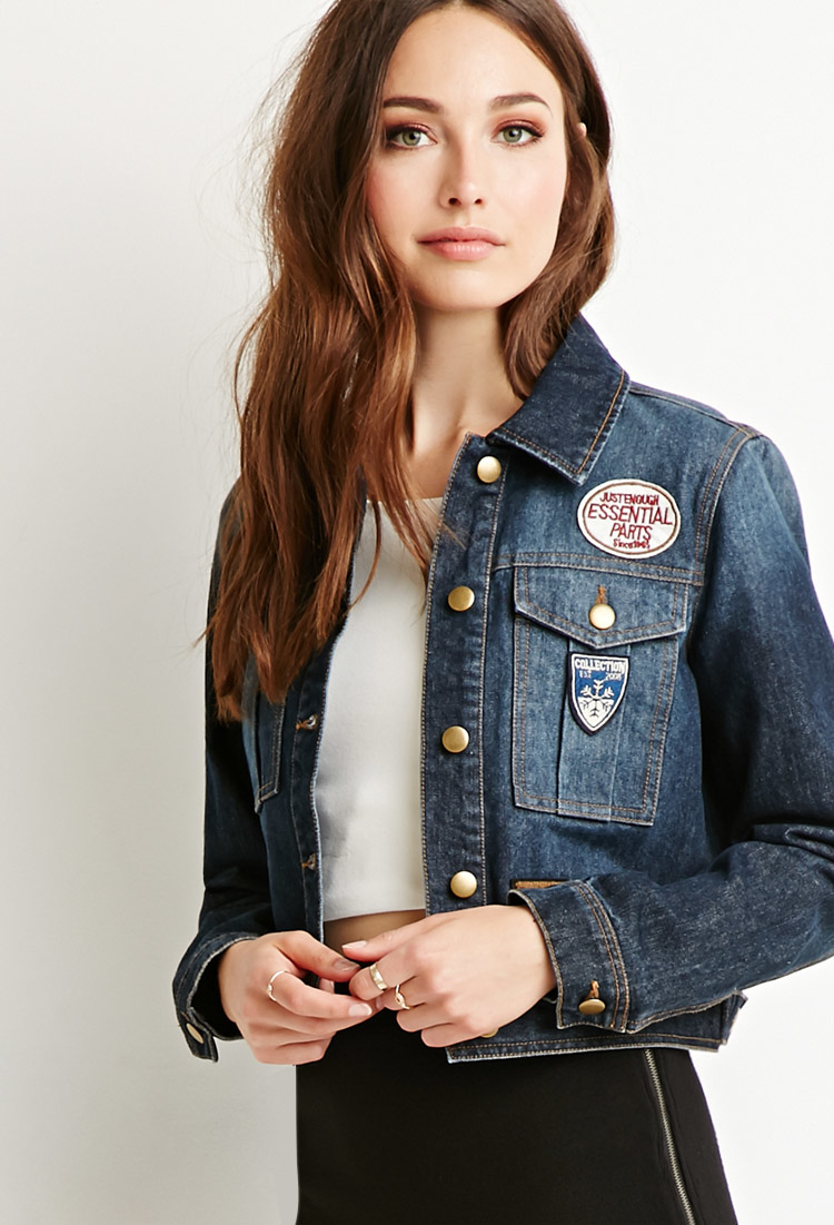 f178bdc5bc9 Lyst - Forever 21 Contemporary Life In Progress Mixed Patch Denim ...