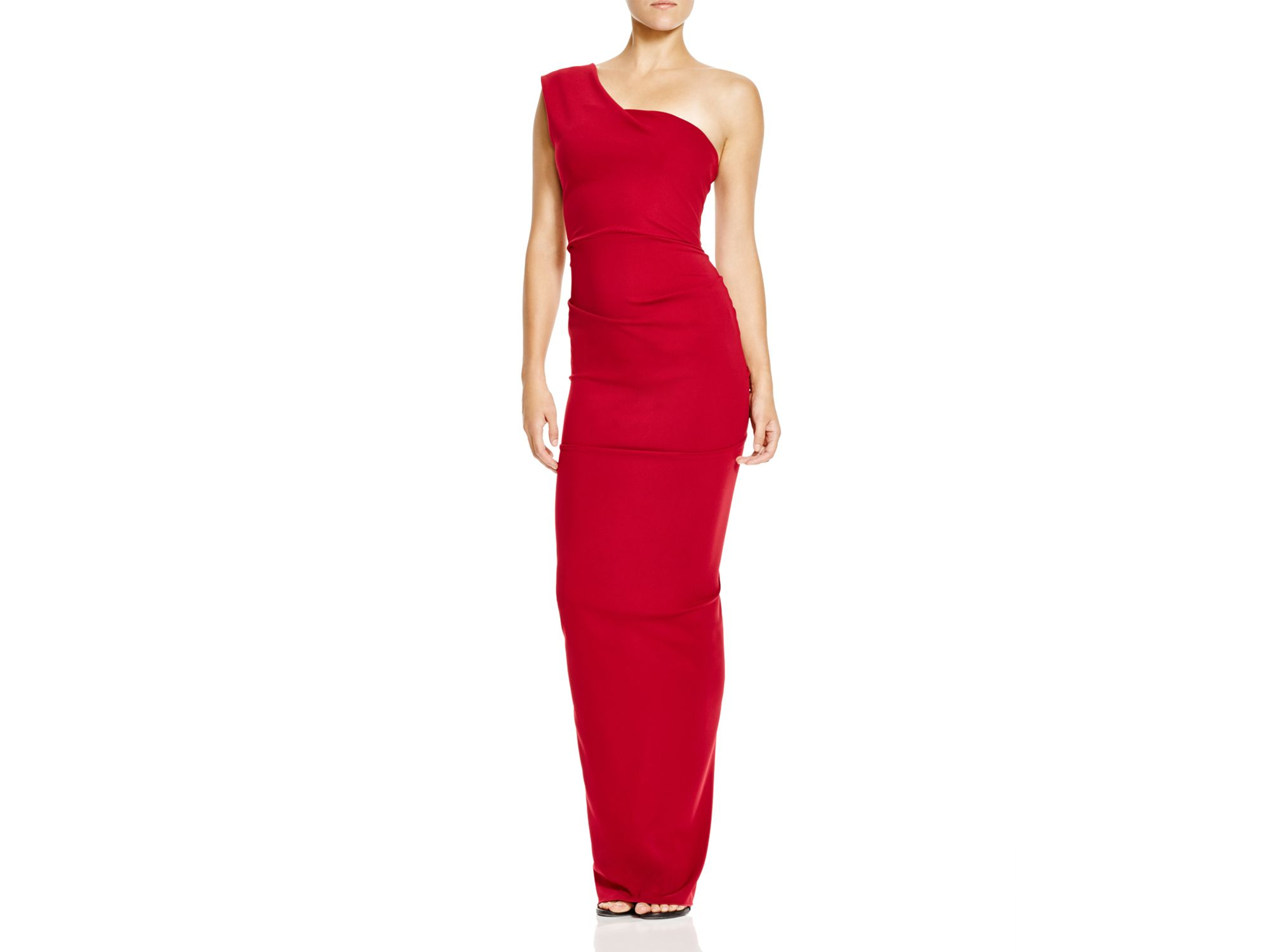 f279d5ae6d87 Nicole Bakti One Shoulder Ruffle Back Gown in Red - Lyst