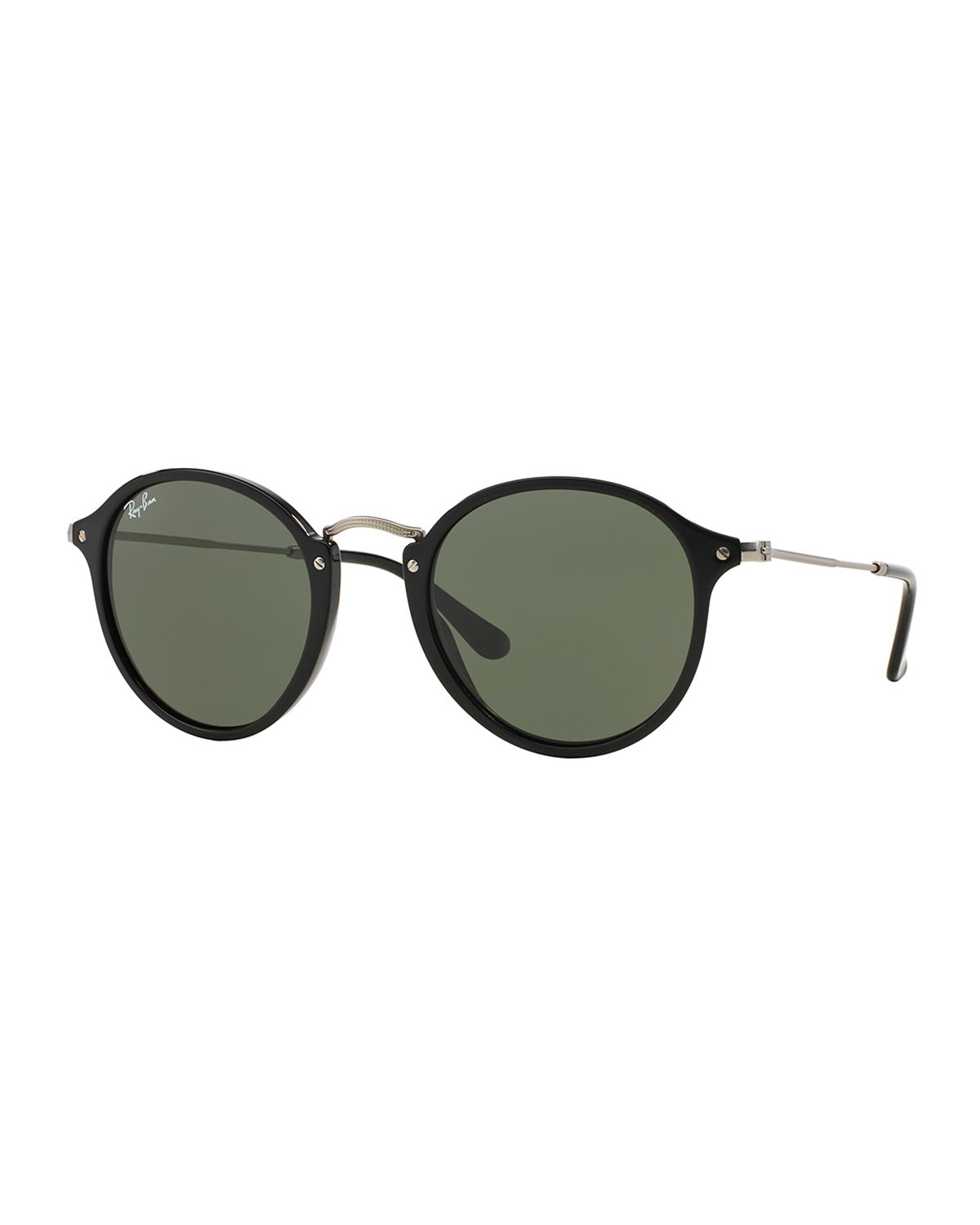 Ray-ban Round Plastic/metal Sunglasses in Black | Lyst