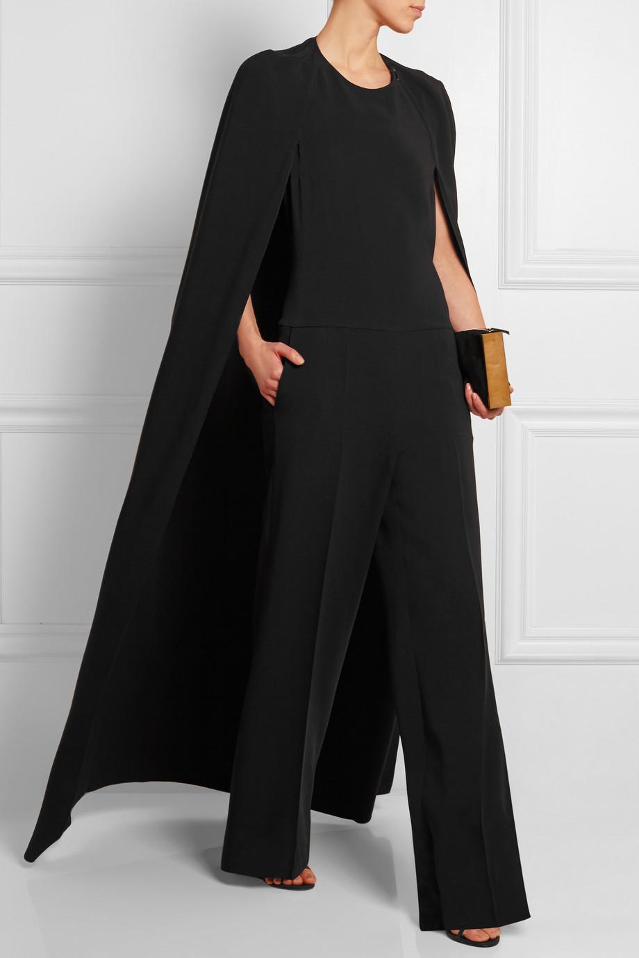 Lyst Stella Mccartney Cape Back Crepe Jumpsuit In Black