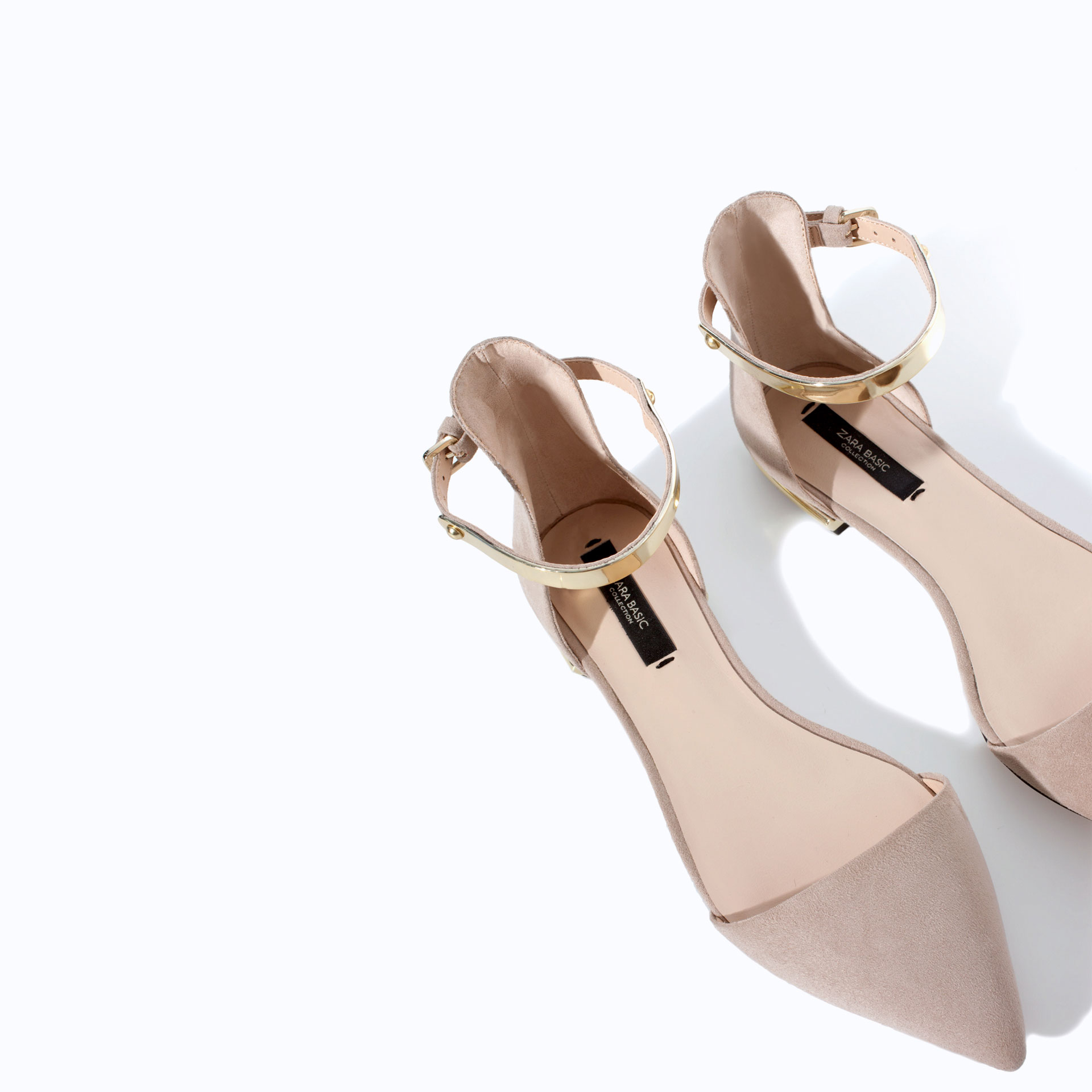 Zara Pointy Shoes With Ankle Strap In Natural Lyst
