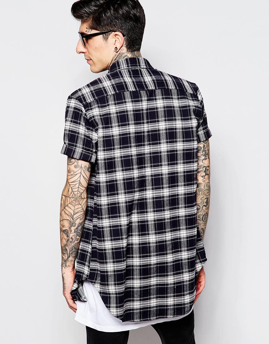 Lyst Asos Longline Shirt With Navy Flannel Check In Short Sleeve