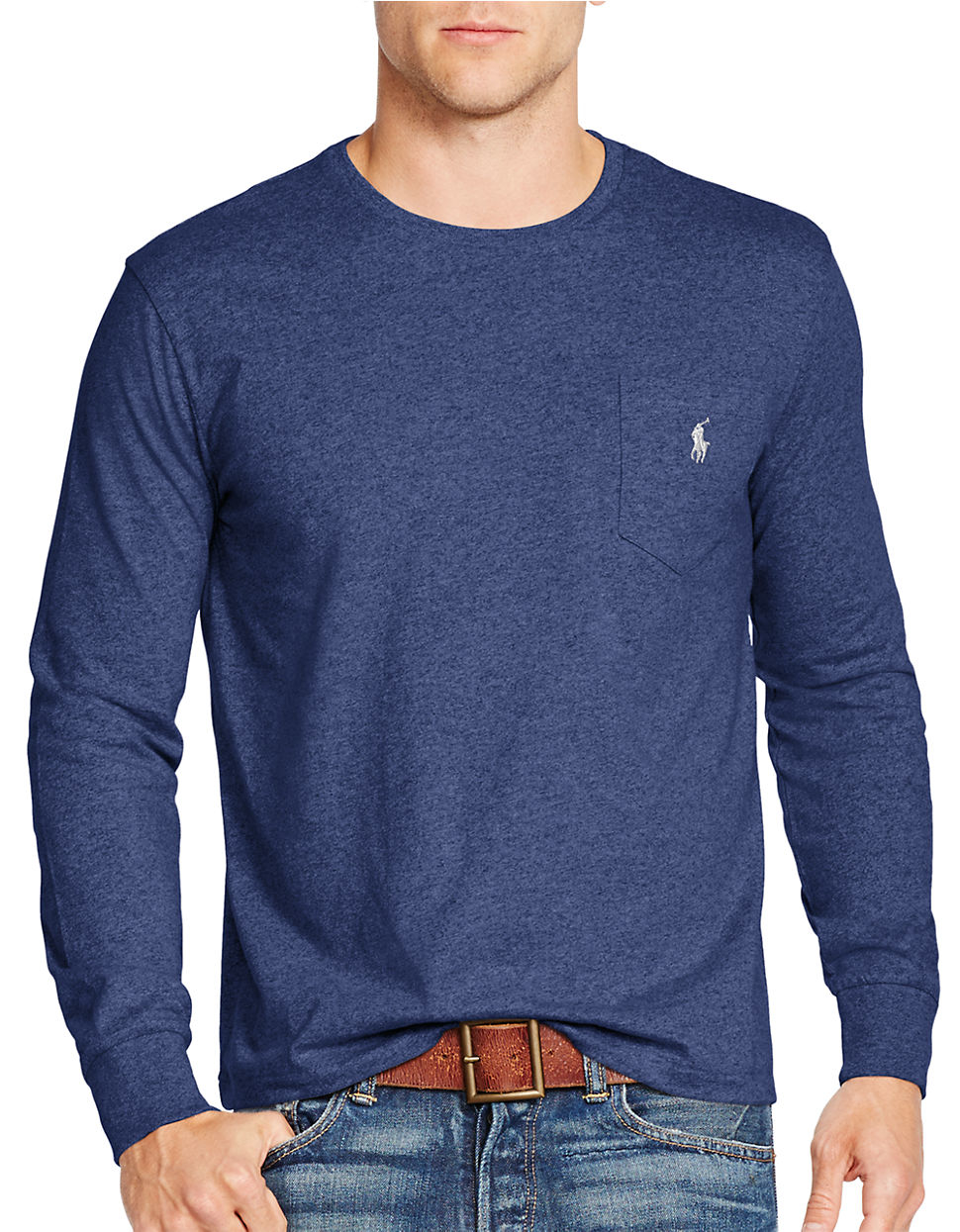 Polo ralph lauren long sleeve jersey crewneck shirt in for Ralph lauren polo jersey shirt