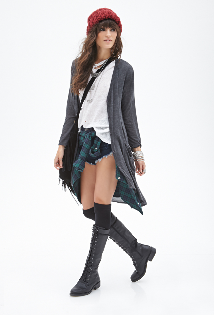 Forever 21 Button-down Maxi Cardigan in Gray   Lyst