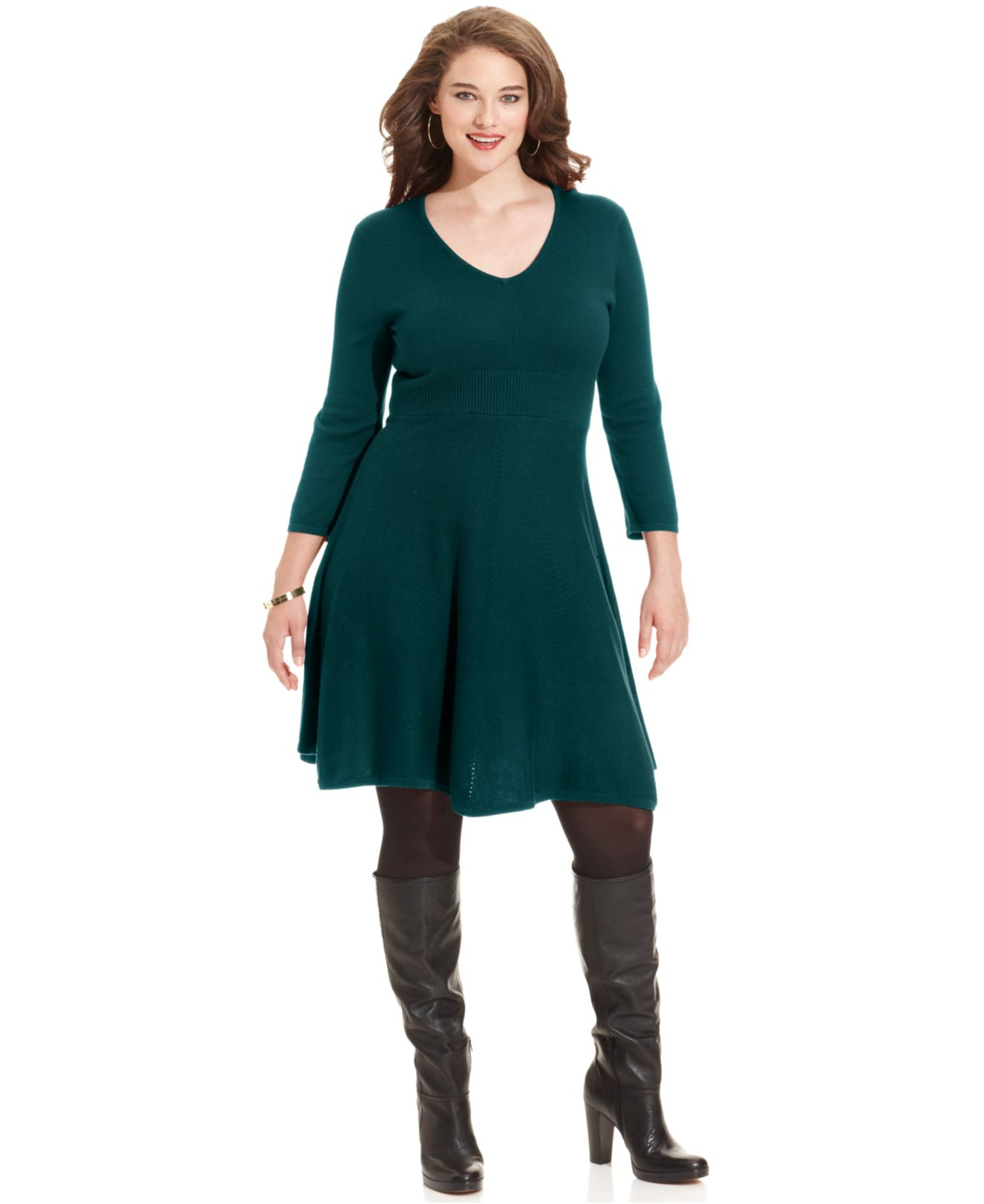 Spense Plus Size Three-Quarter-Sleeve A-Line Sweater Dress in ...