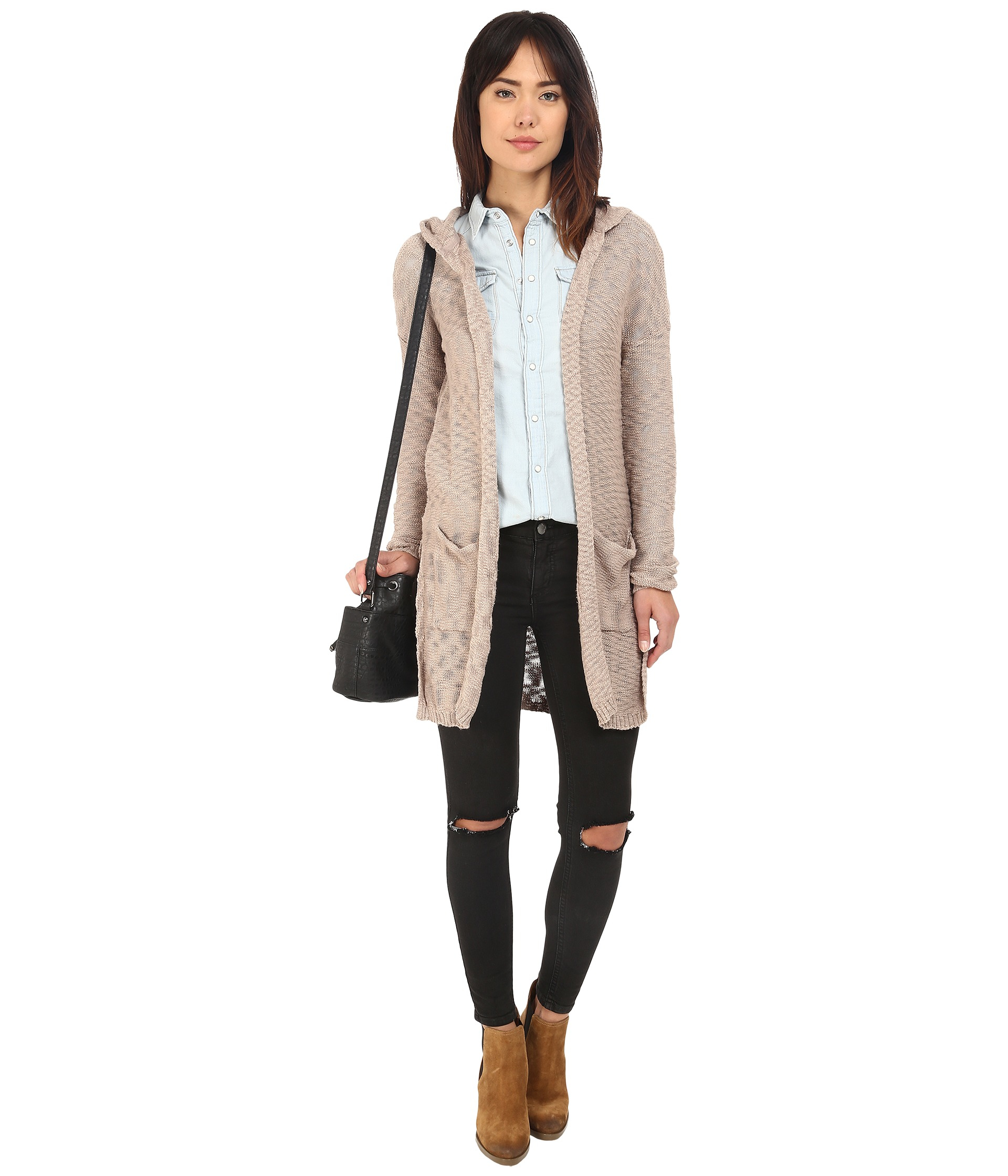 Only Wish Long Sleeve Hood Long Cardigan in Natural | Lyst