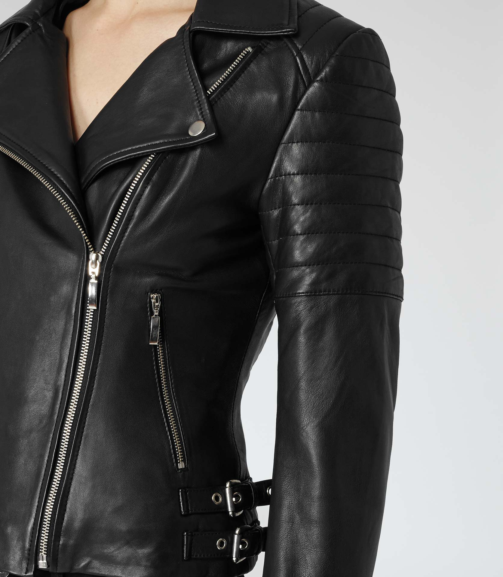 Lyst - Reiss Topaz Quilted Leather Biker Jacket in Black : leather quilted biker jacket - Adamdwight.com