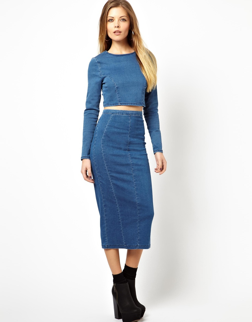 9a4f1e3dc7 Lyst - ASOS Long Sleeve Denim Crop Top In Mid Vintage Wash in Blue