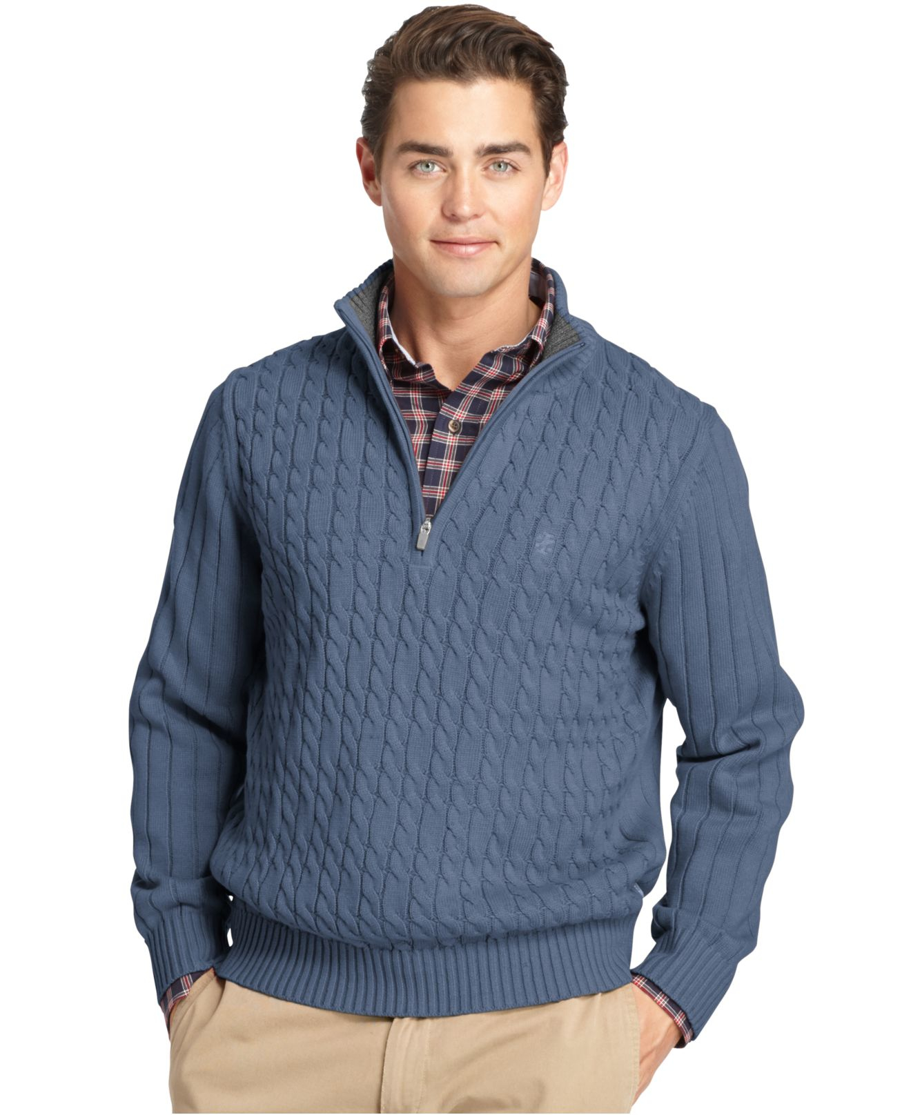 Izod Big And Tall Cable-knit Quarter-zip Sweater in Blue for Men ...