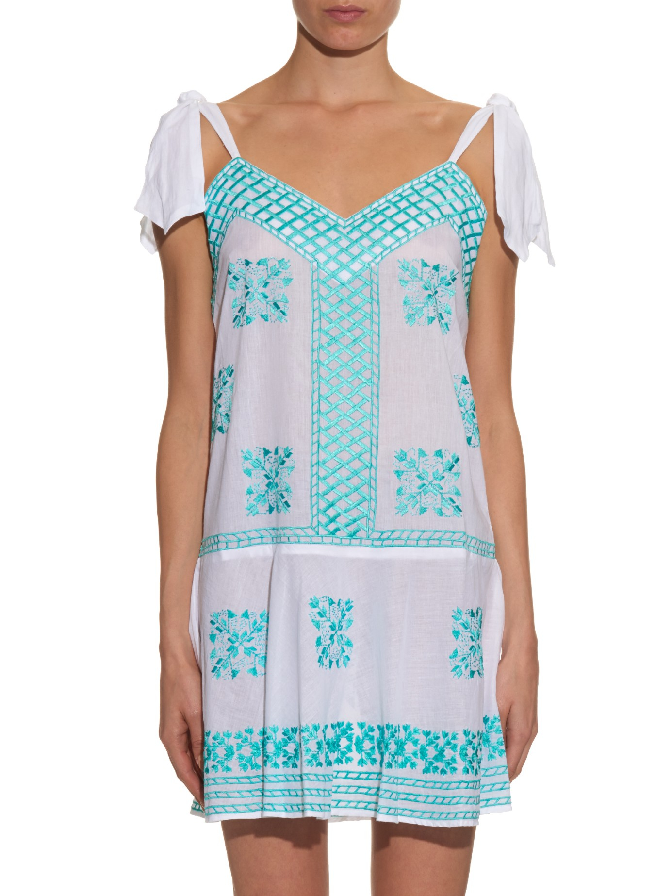 Lyst juliet dunn embroidered self tie cotton dress in blue