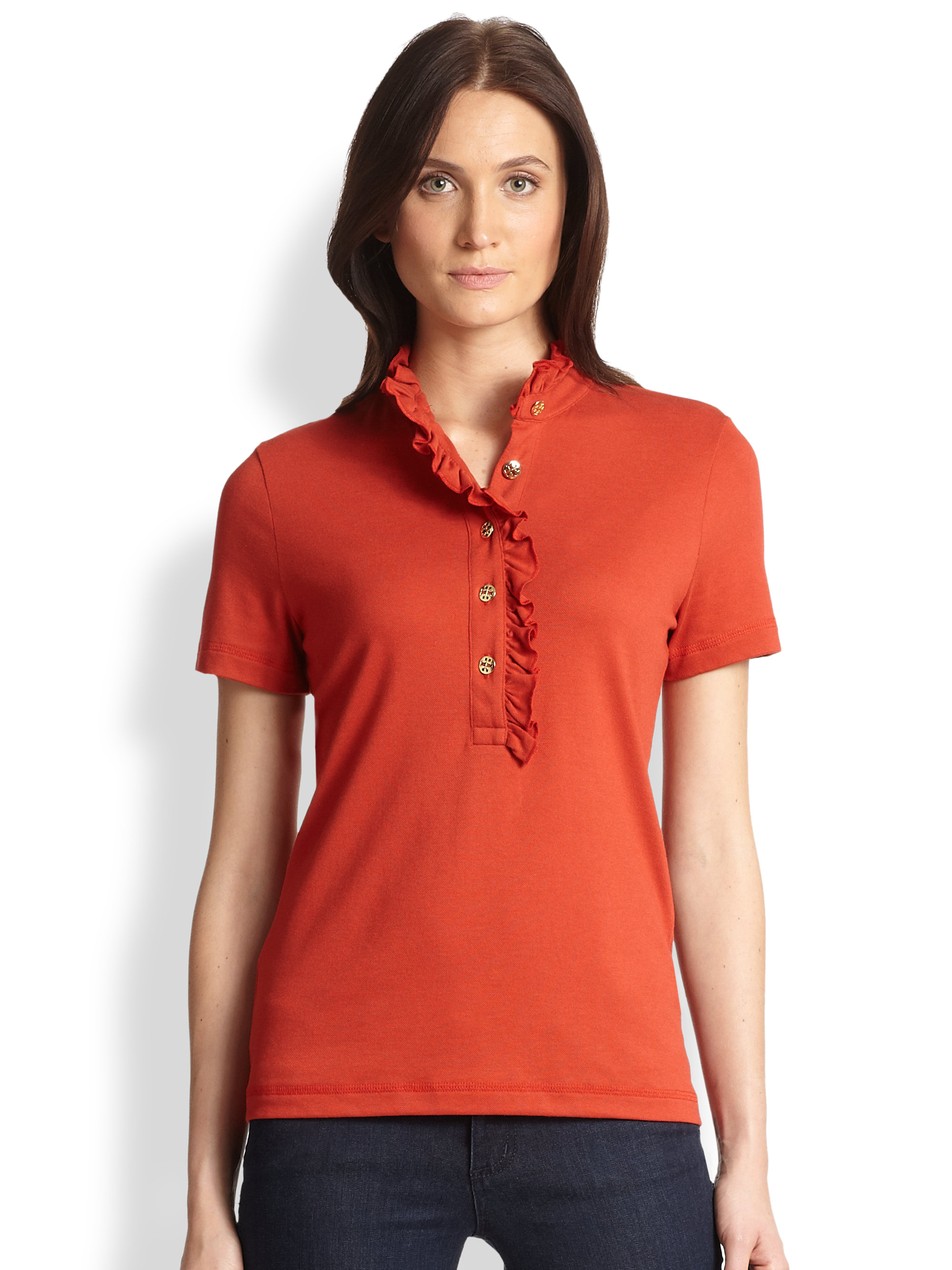 Lyst Tory Burch Lidia Polo Shirt In Red