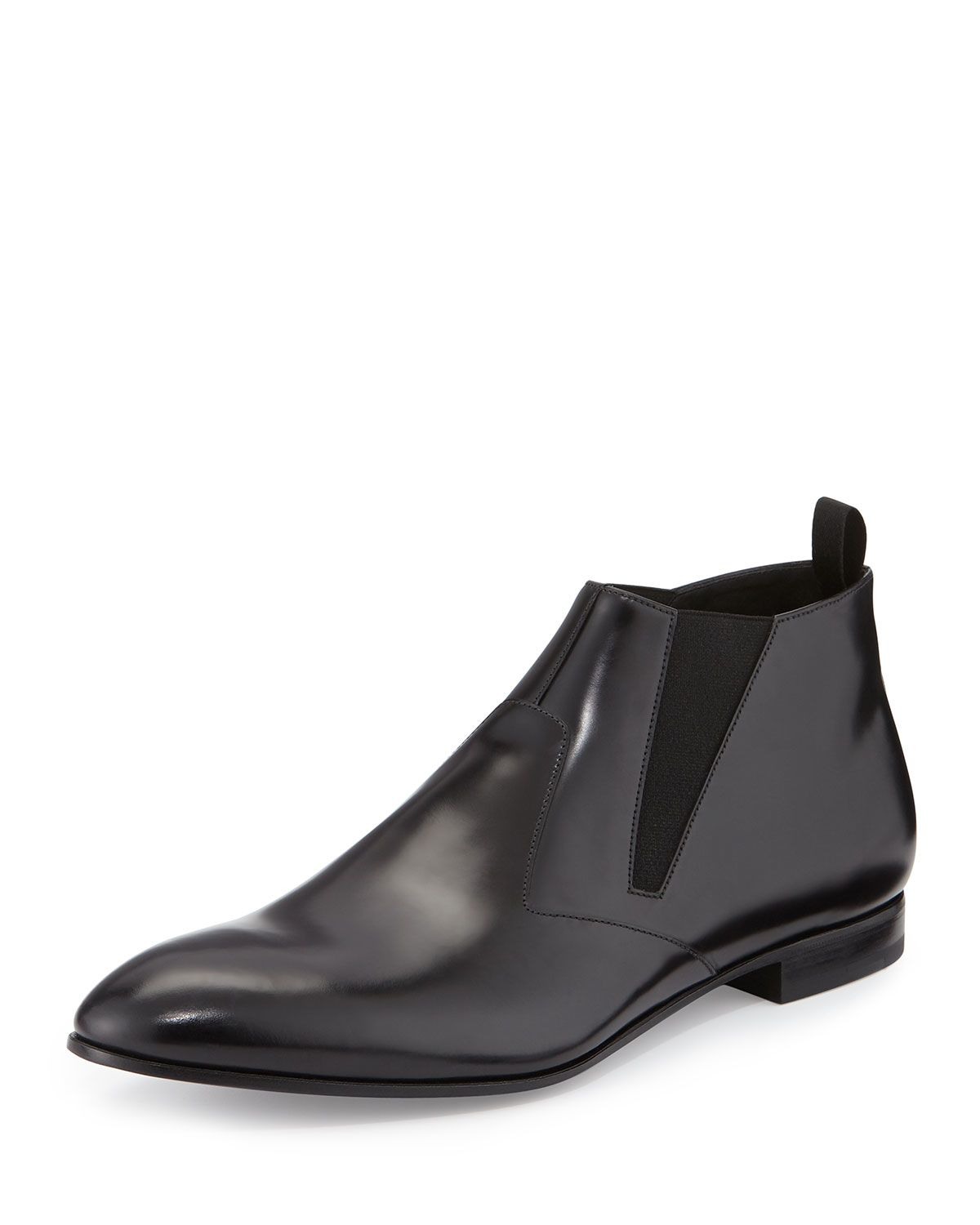 prada runway leather chelsea boot in black for lyst