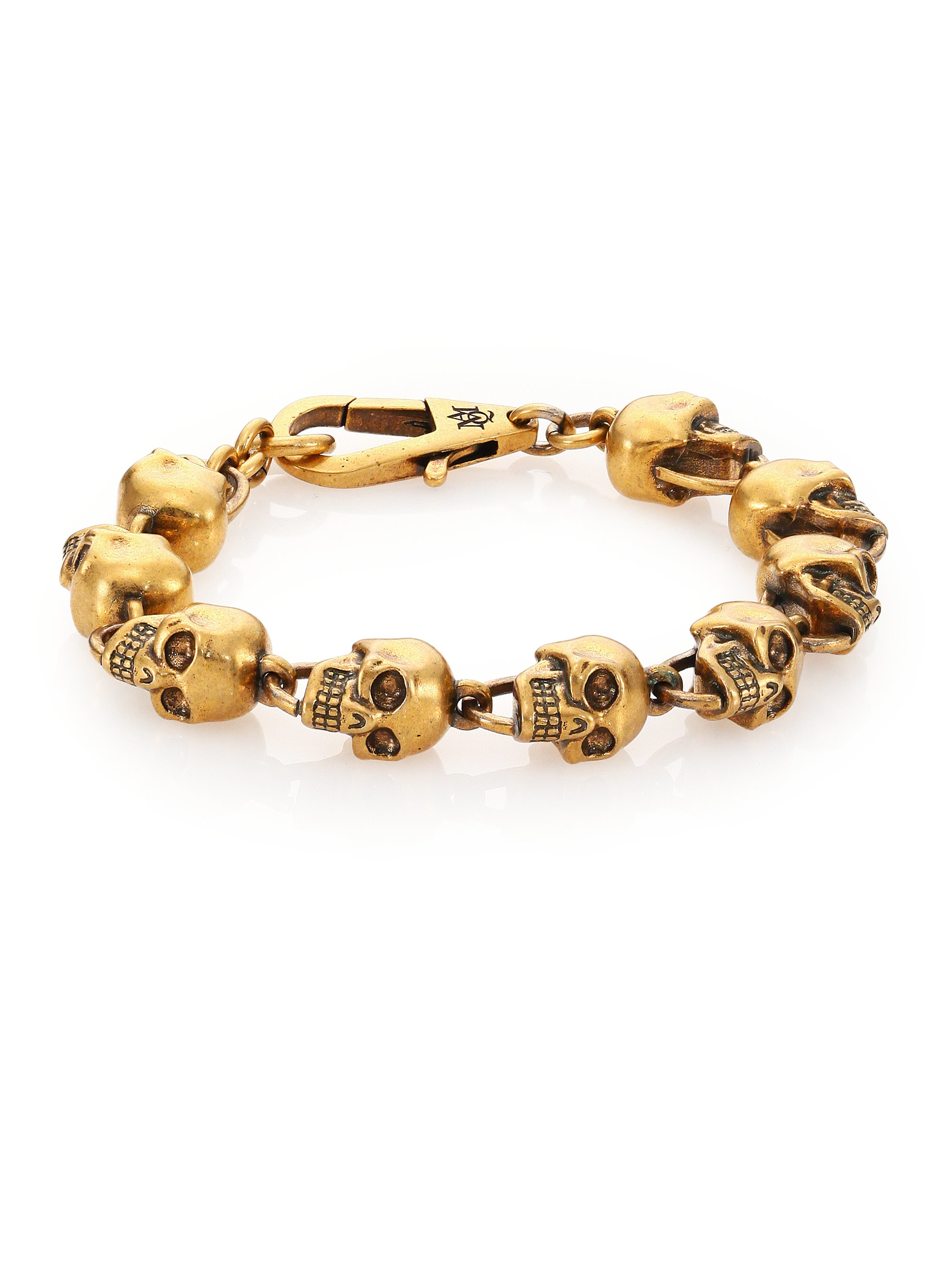 Alexander mcqueen Skull Bead Bracelet in Metallic for Men ...