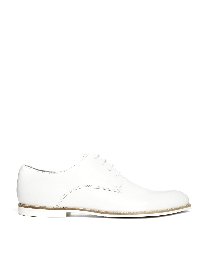 asos derby shoes in leather in white for lyst
