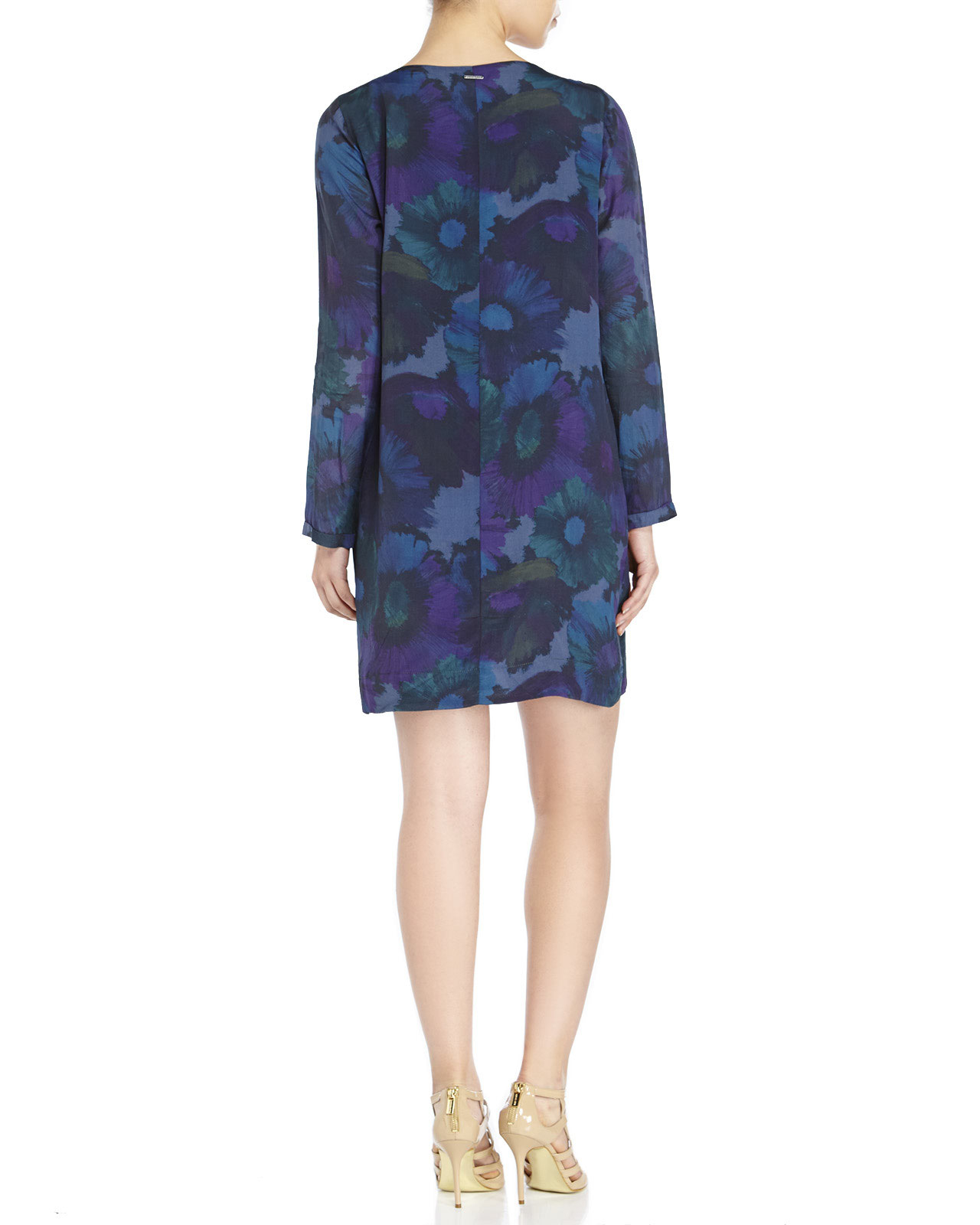 Century 21 ottod 39 ame long sleeve floral print dress in for Century 21 dress shirts