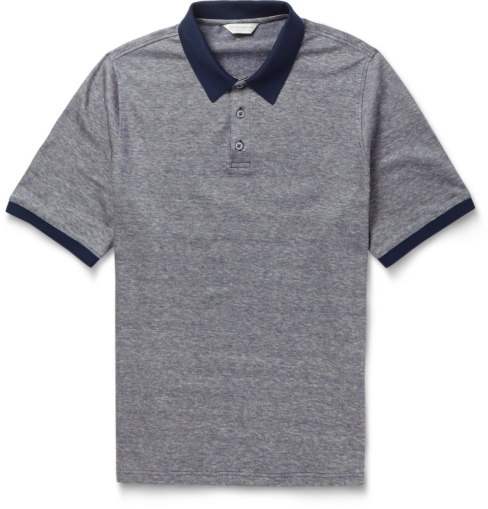 Gieves Hawkes Cotton And Linen Blend Polo Shirt In Blue