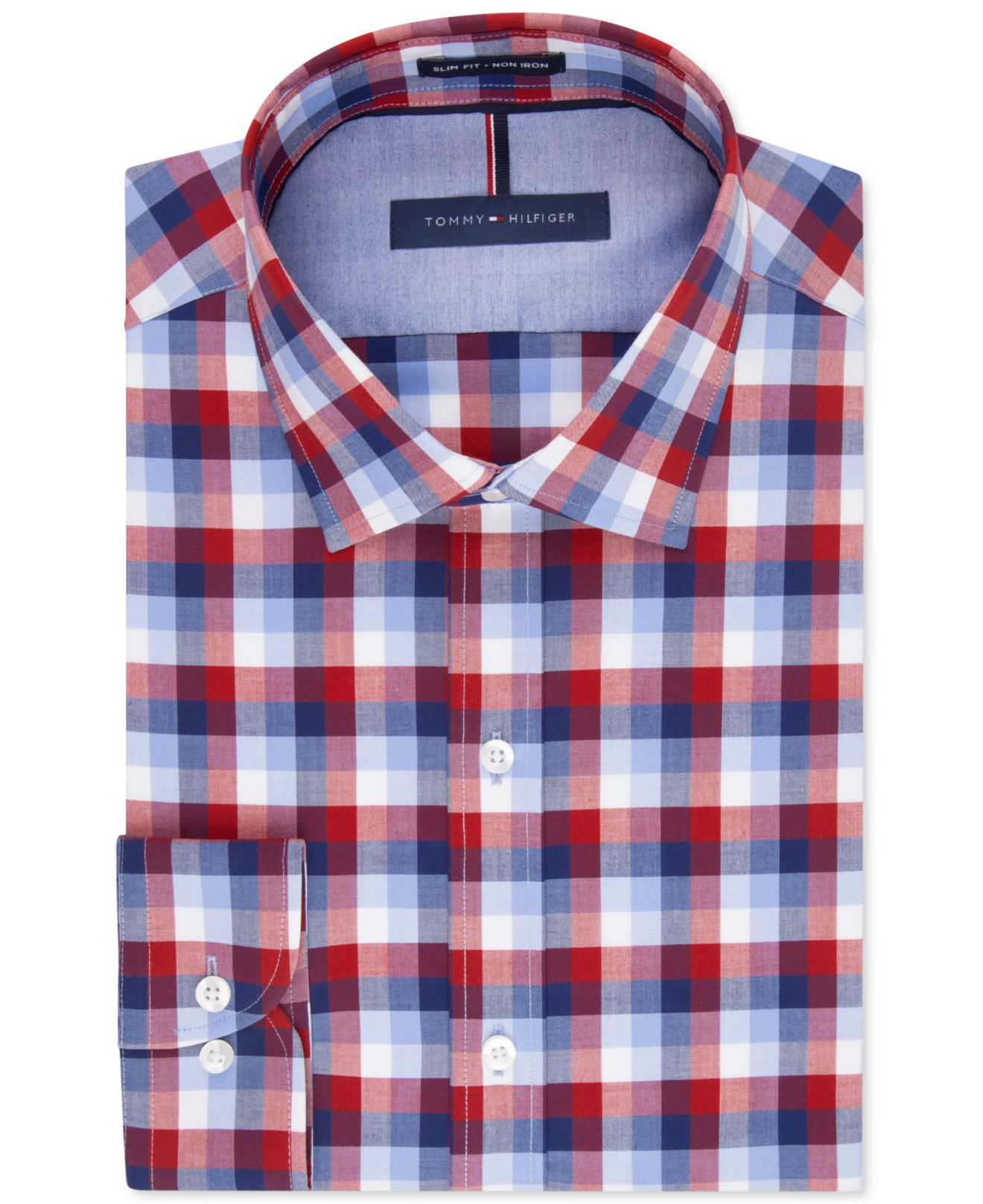 a4dc20d20 Tommy Hilfiger Slim-fit Non-iron Soft Wash Red And Blue Multi Check ...