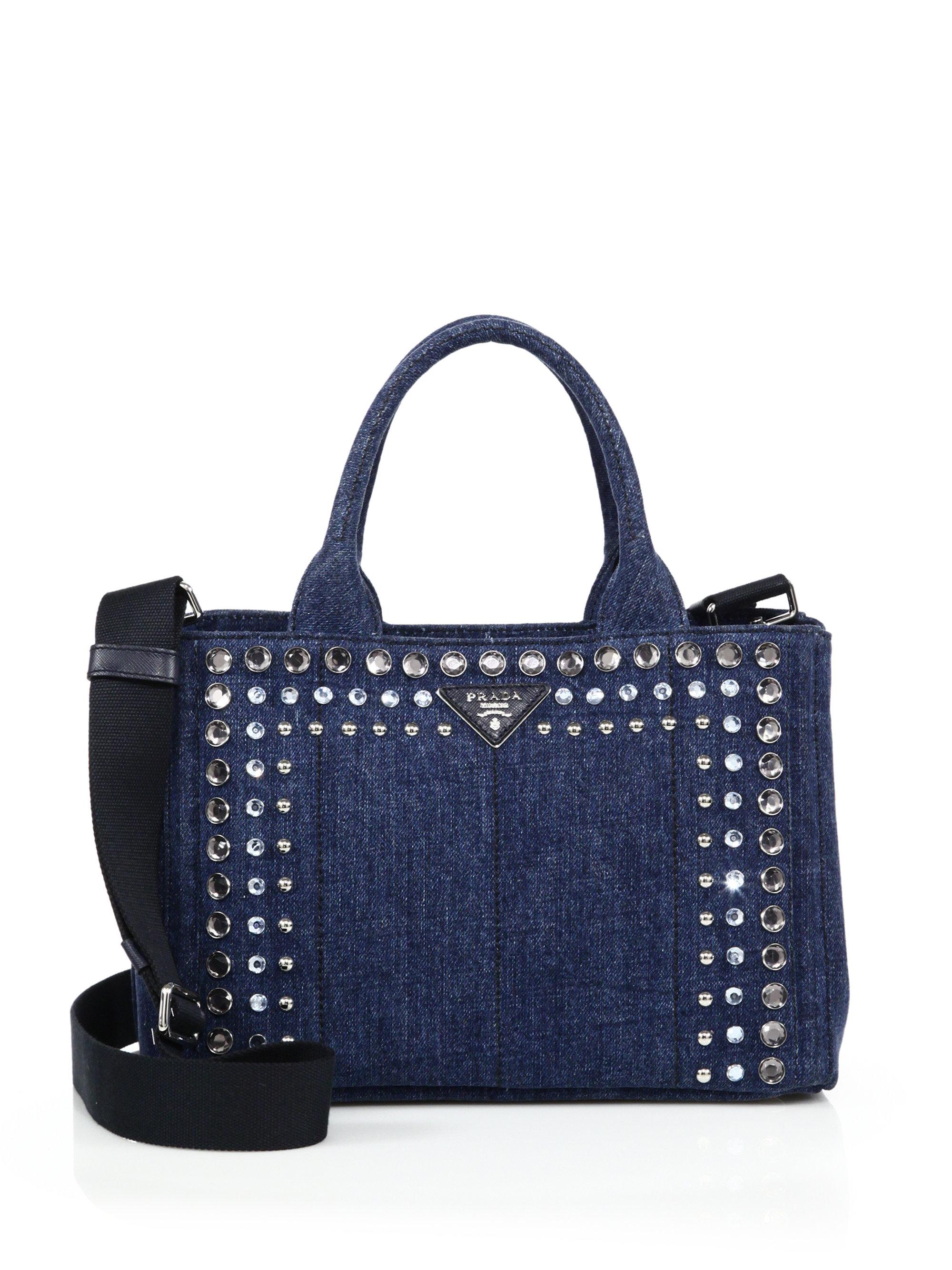 prada tote bags price - Prada Crystal-embellished Denim Tote in Blue (baltico-navy) | Lyst