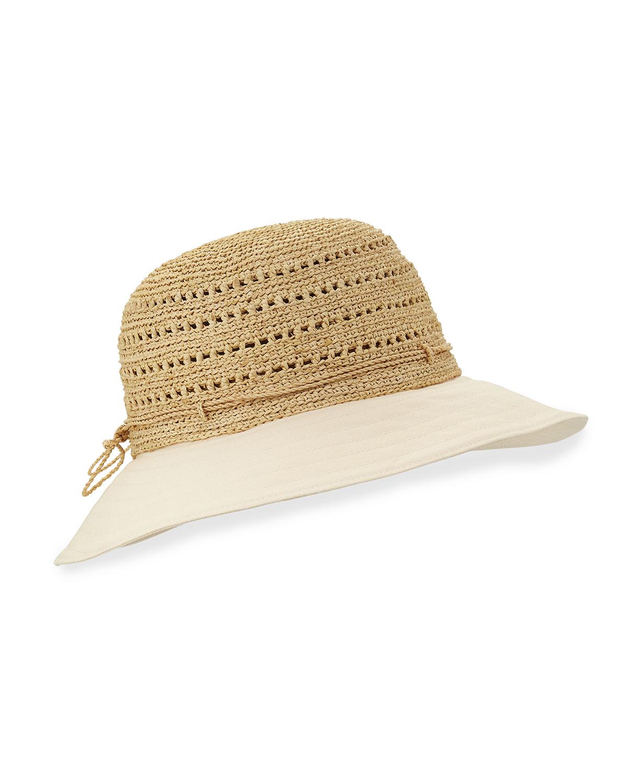 7725a8595b2644 Helen Kaminski Kessy 8 Raffia & Canvas Sun Hat in Natural - Lyst