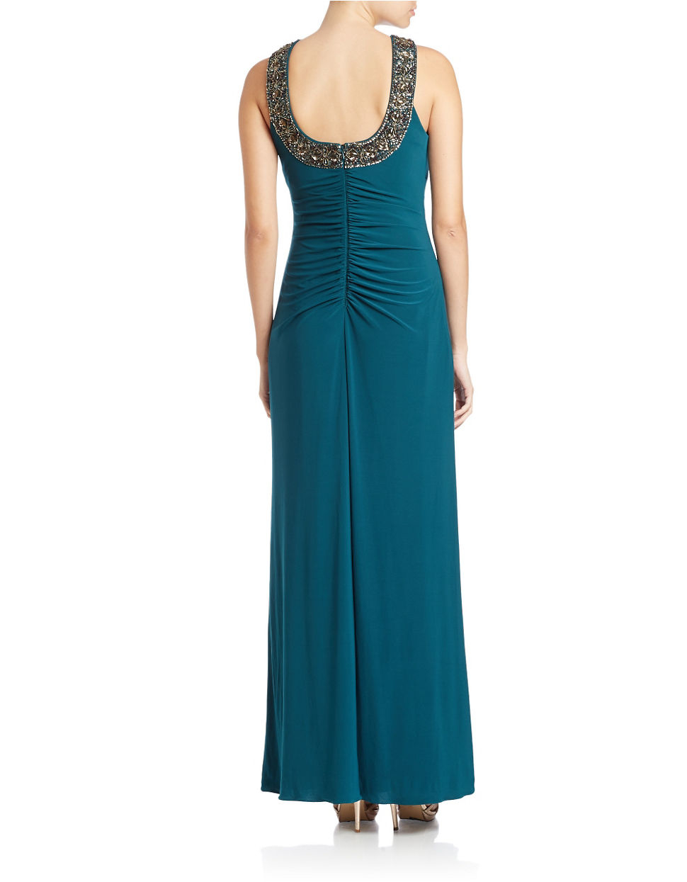 99fb3c8b7701 Xscape Beaded Necklace Gown in Blue - Lyst