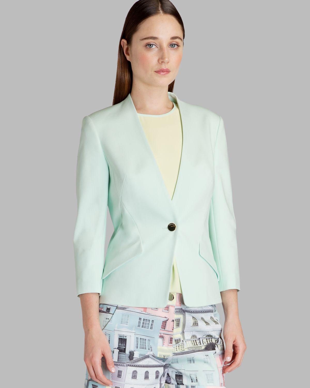Ted baker Jacket Ellsie Curved Hem in Green | Lyst