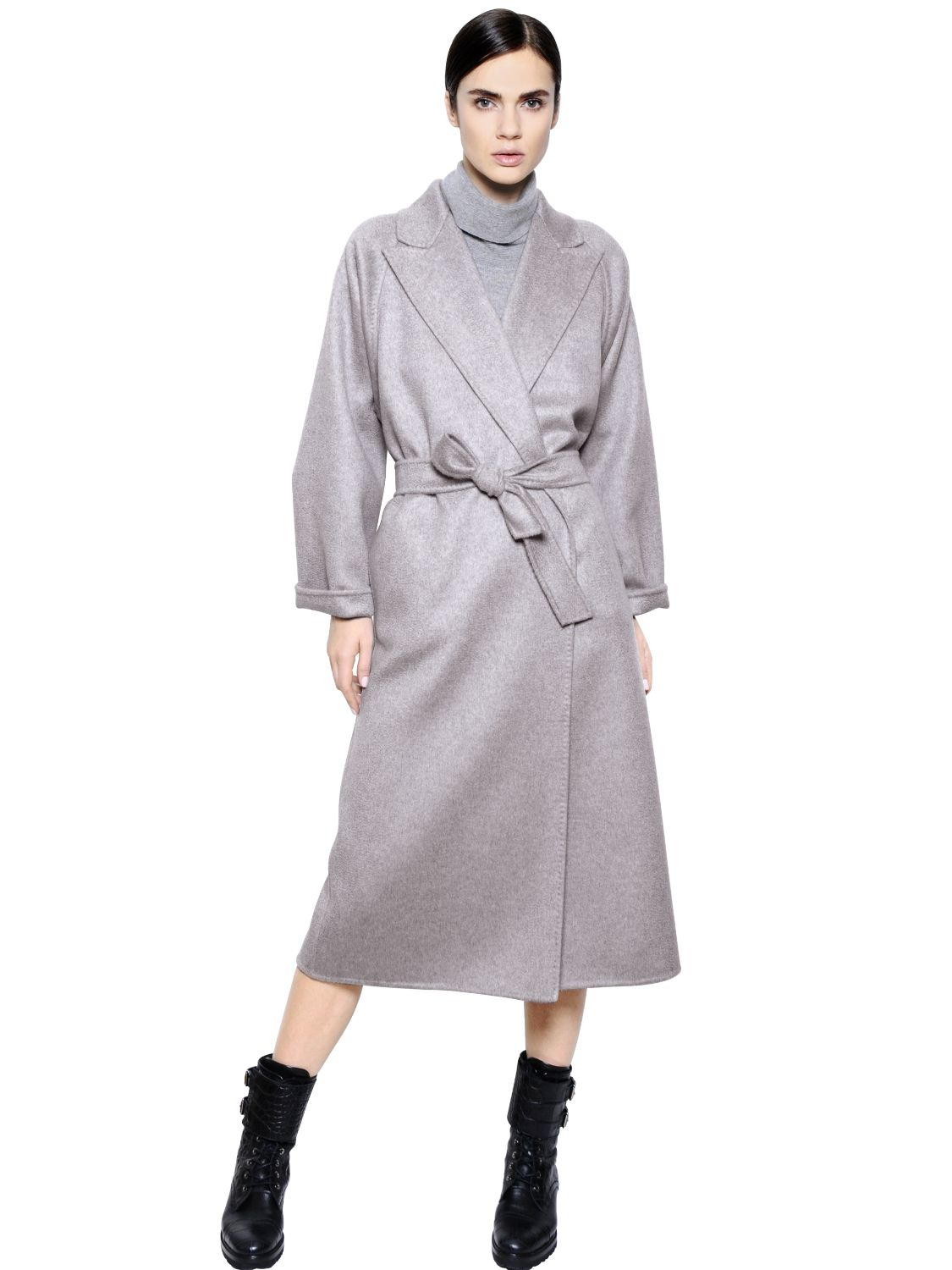 Max mara Belted Cashmere Coat in Gray   Lyst