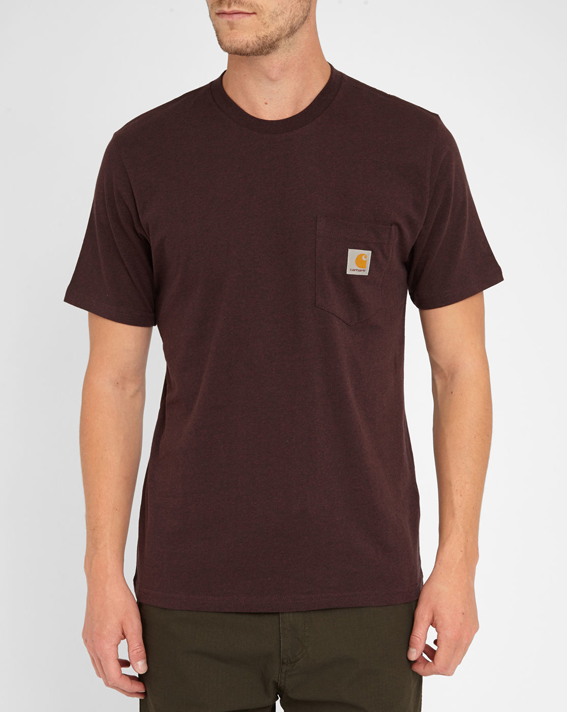 Carhartt burgundy round neck s s pocket t shirt in red for for Carhartt burgundy t shirt