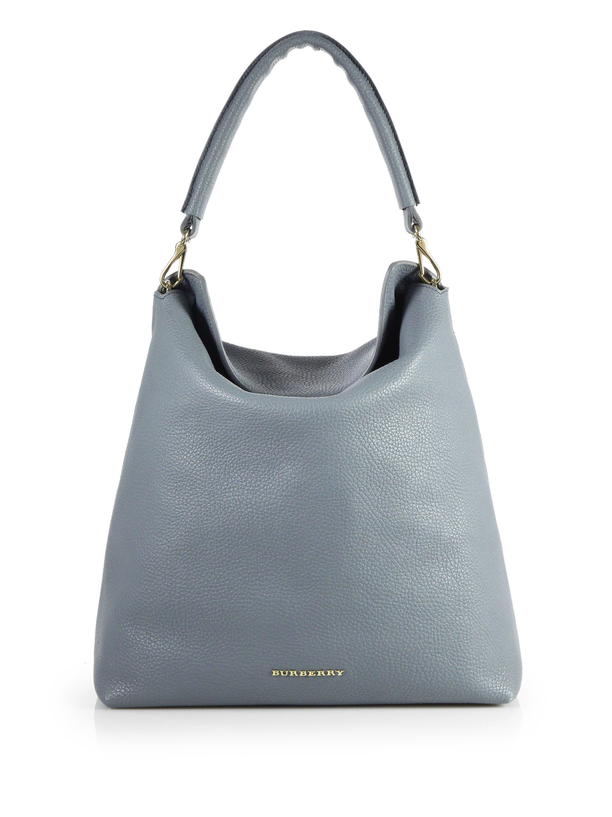 0e7a62d208 Burberry Pebble Leather Hobostyle Tote in Gray - Lyst