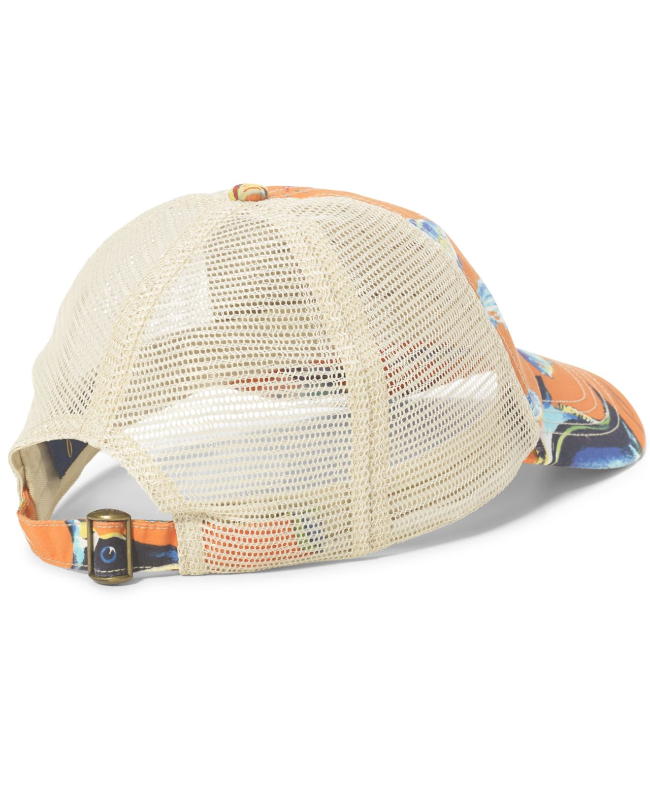 Polo ralph lauren angelfish print trucker hat for men lyst for Polo fishing hat