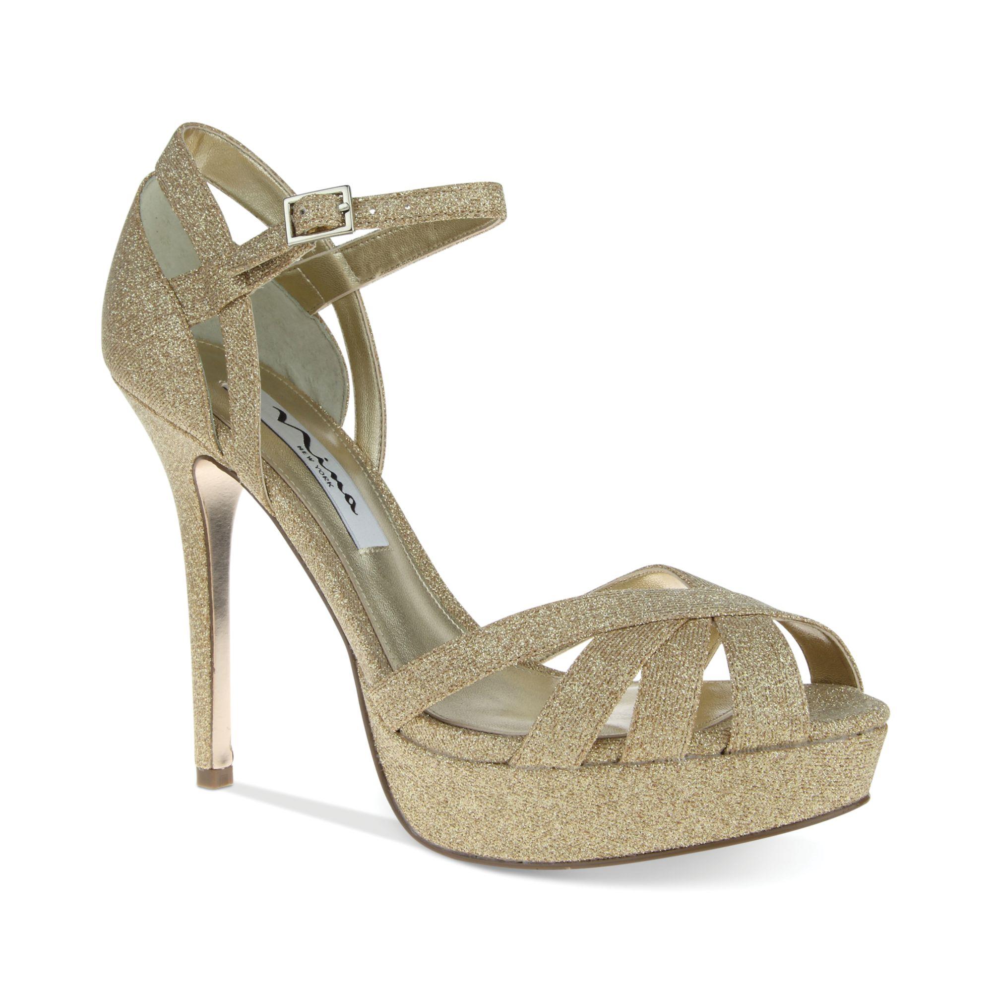senora platform evening sandals in gold royal gold