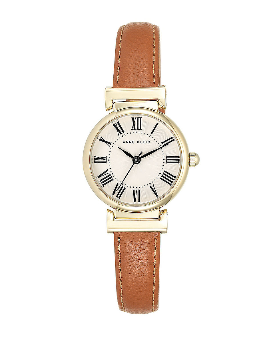 anne klein goldtone and brown leather strap watch in brown lyst
