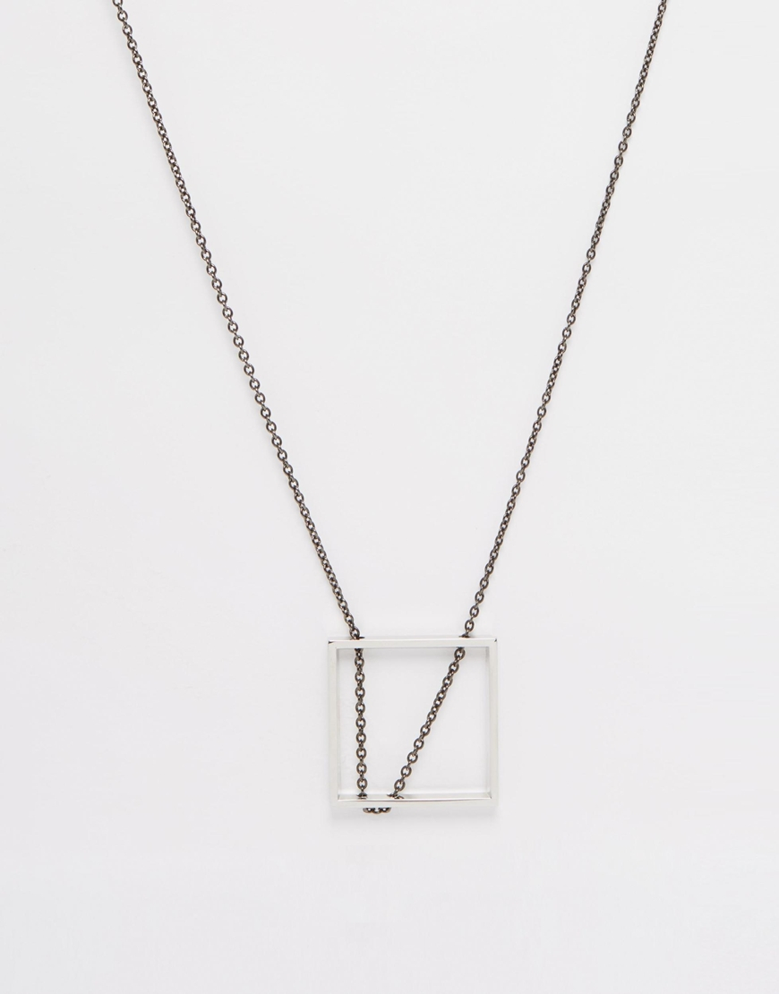 Lyst asos square pendant necklace in metallic for men gallery mozeypictures Image collections