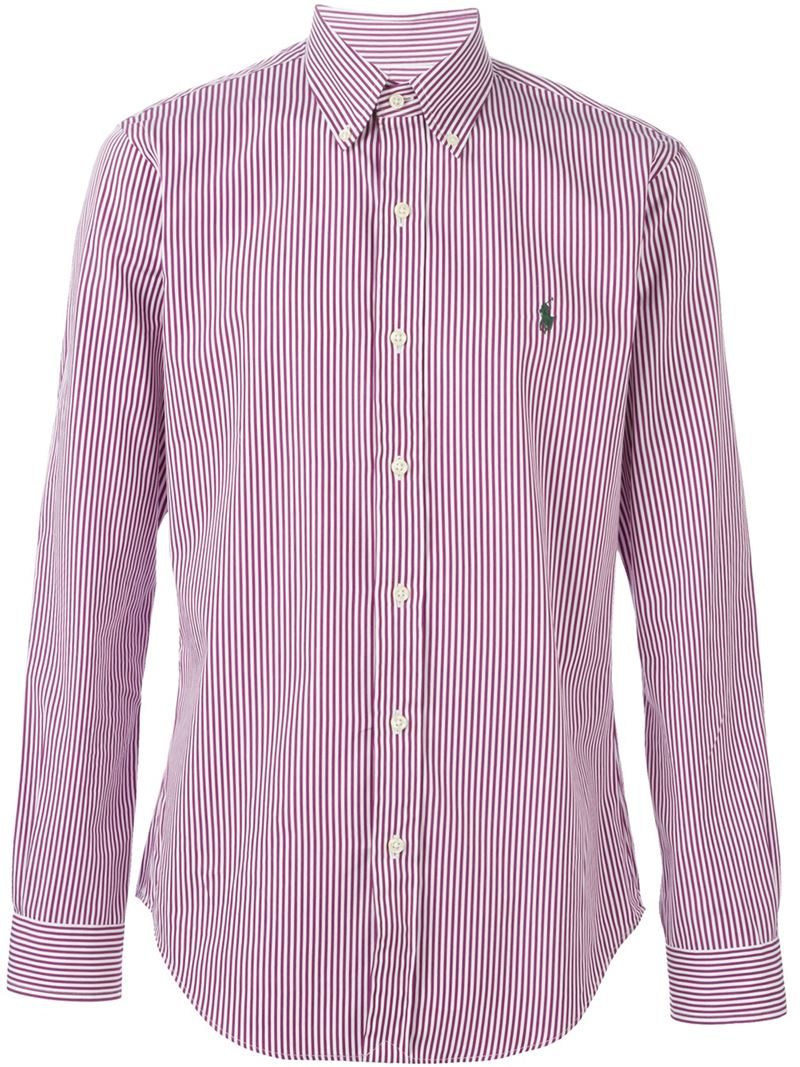 783b43b7f ... best price lyst polo ralph lauren striped button down shirt in pink for  men 3aded 190bc