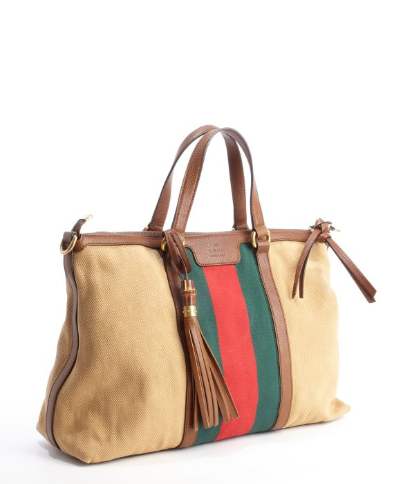 240f95210a5 Gucci Camel Leather Trimmed Canvas Web Stripe Convertible Tote Bag ...