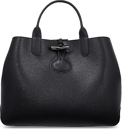 Longchamp Roseau Reversible Leather Tote in Black - Lyst 82adf26e90f5e