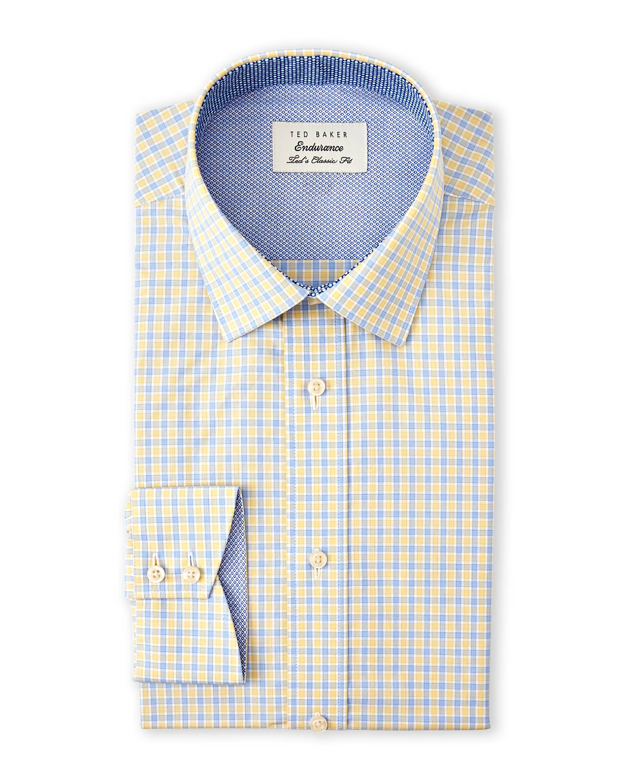 ted baker yellow blue plaid classic fit dress shirt in