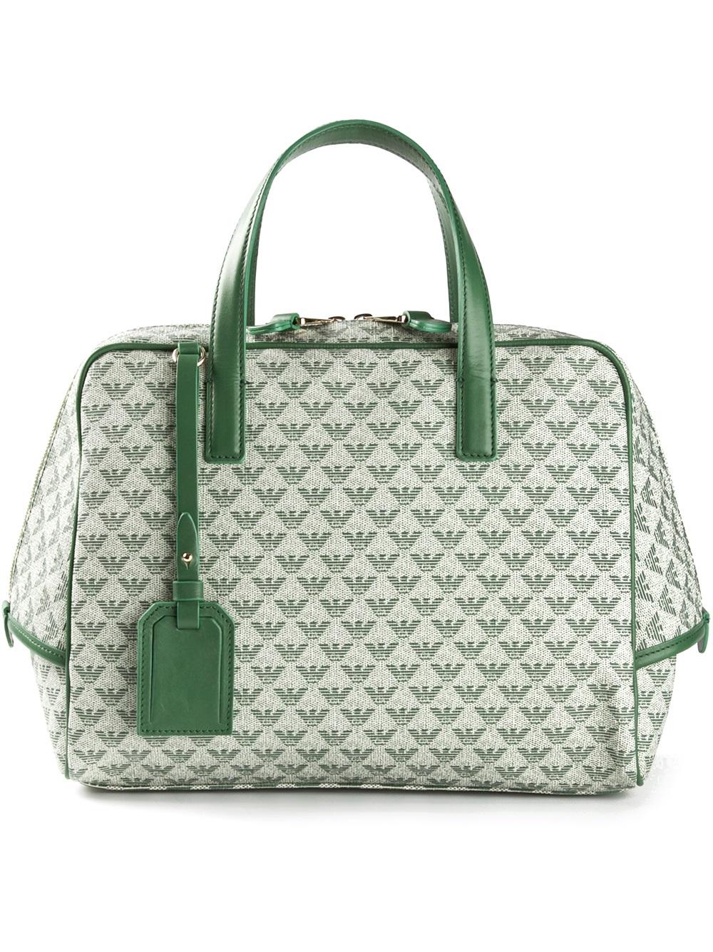 Lyst - Emporio Armani Logo Print Bowling Bag in Green 3a5ba99f4fd44