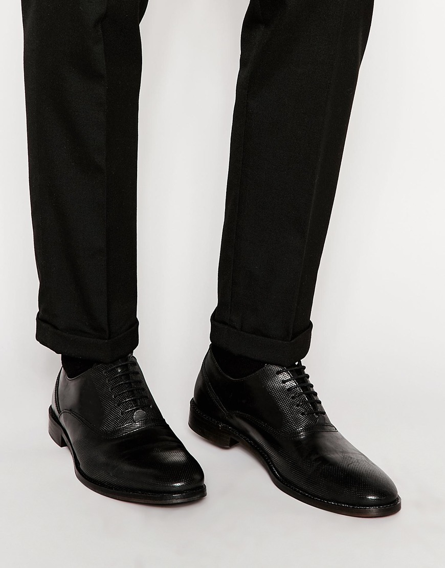Asos oxford shoes in black leather in black for men lyst